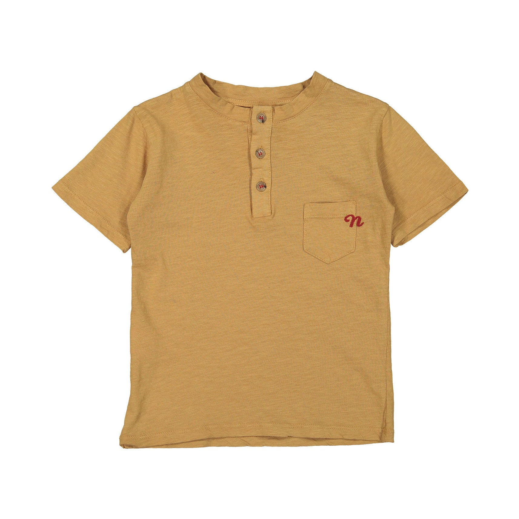Nupkeet Tan Embroidered Logo Henley