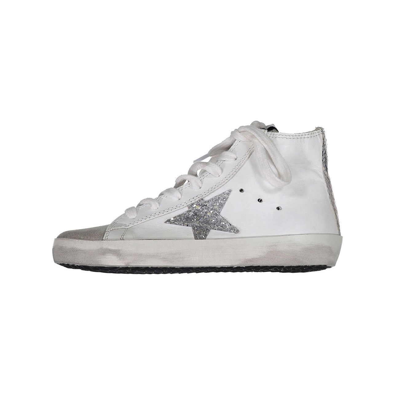 Golden Goose White Leather - Silver Glitter Francy Sneakers