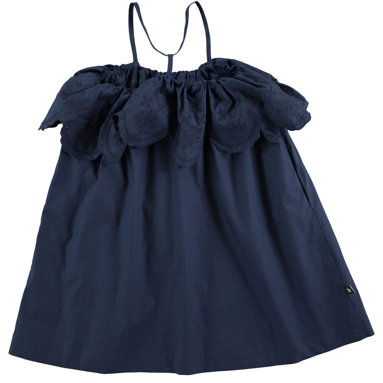 Molo Navy Eyelet Ruffle Dress