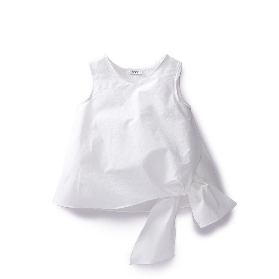 Once White Gathered Bow Blouse - Ladida