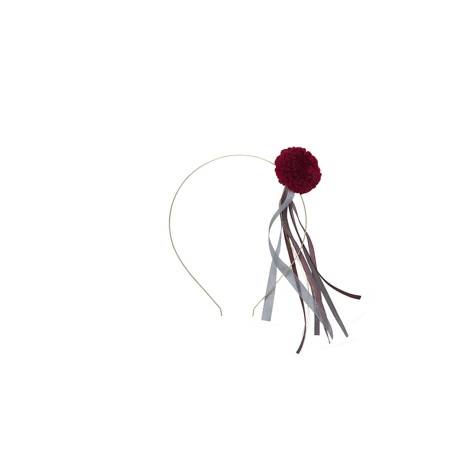 Bene Bene Wine Pompom Ribbon Headband - Ladida