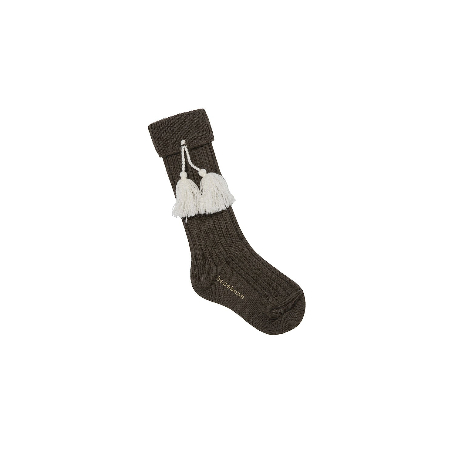 Bene Bene Dark Khaki Tassel Long Socks - Ladida