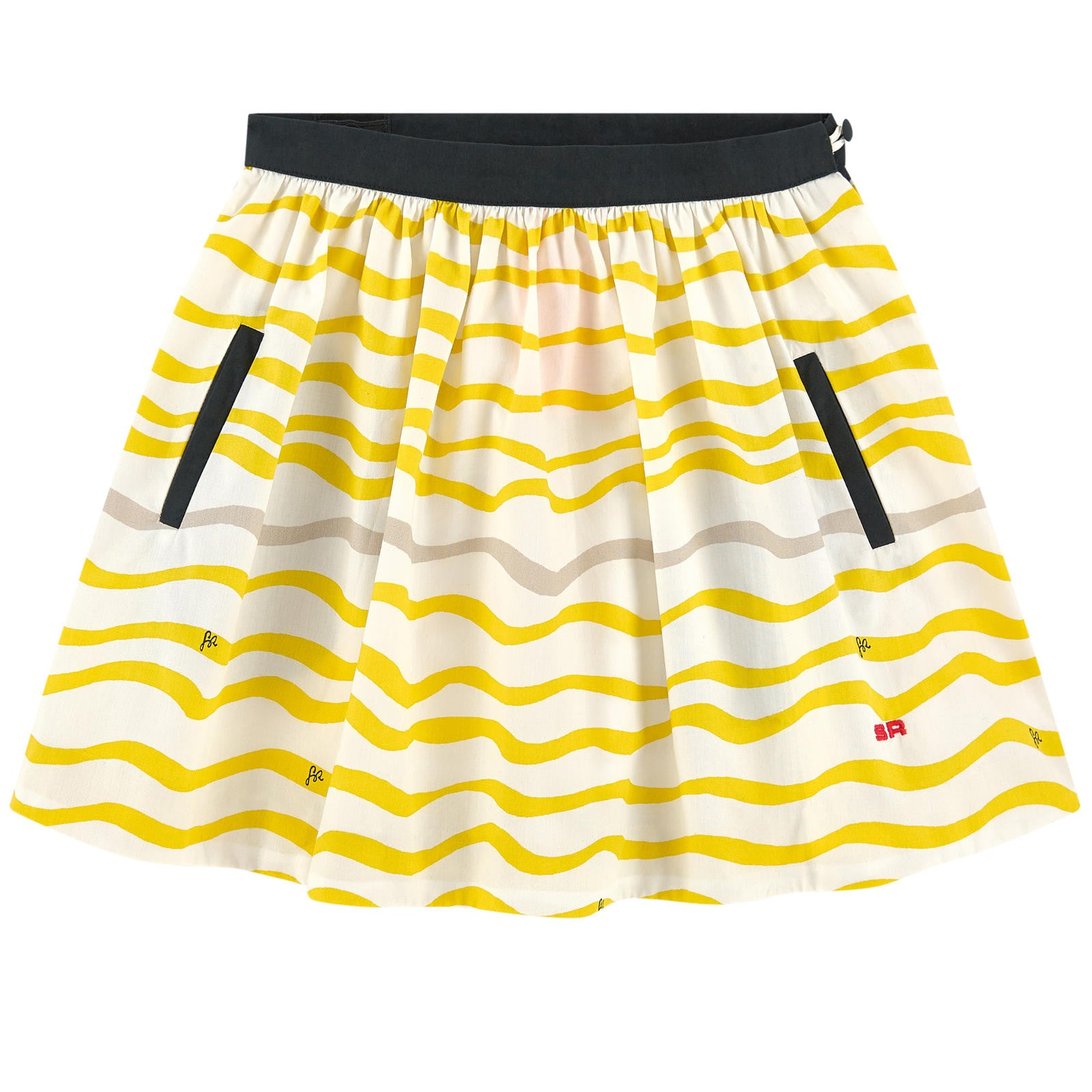 Sonia Yellow Wave Print Skirt - Ladida