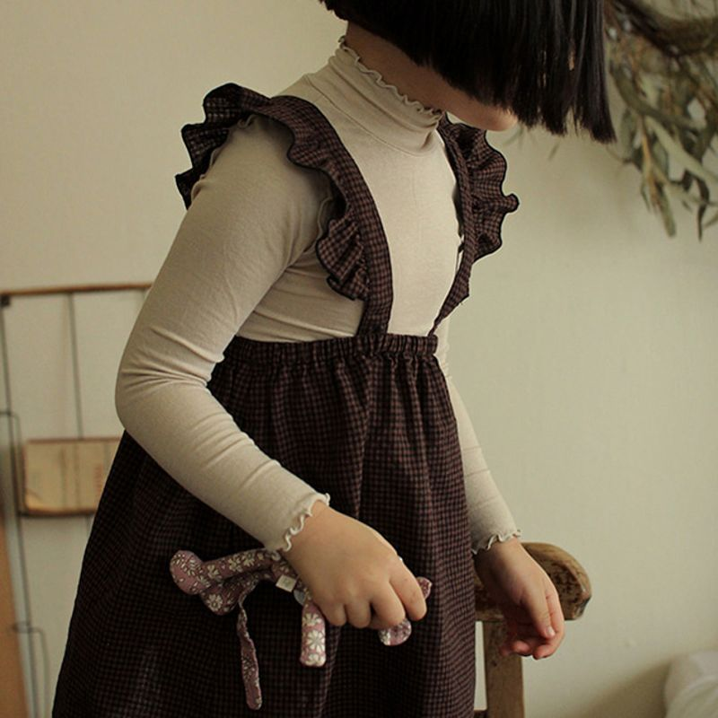 Amber Wine Check Suspender Skirt