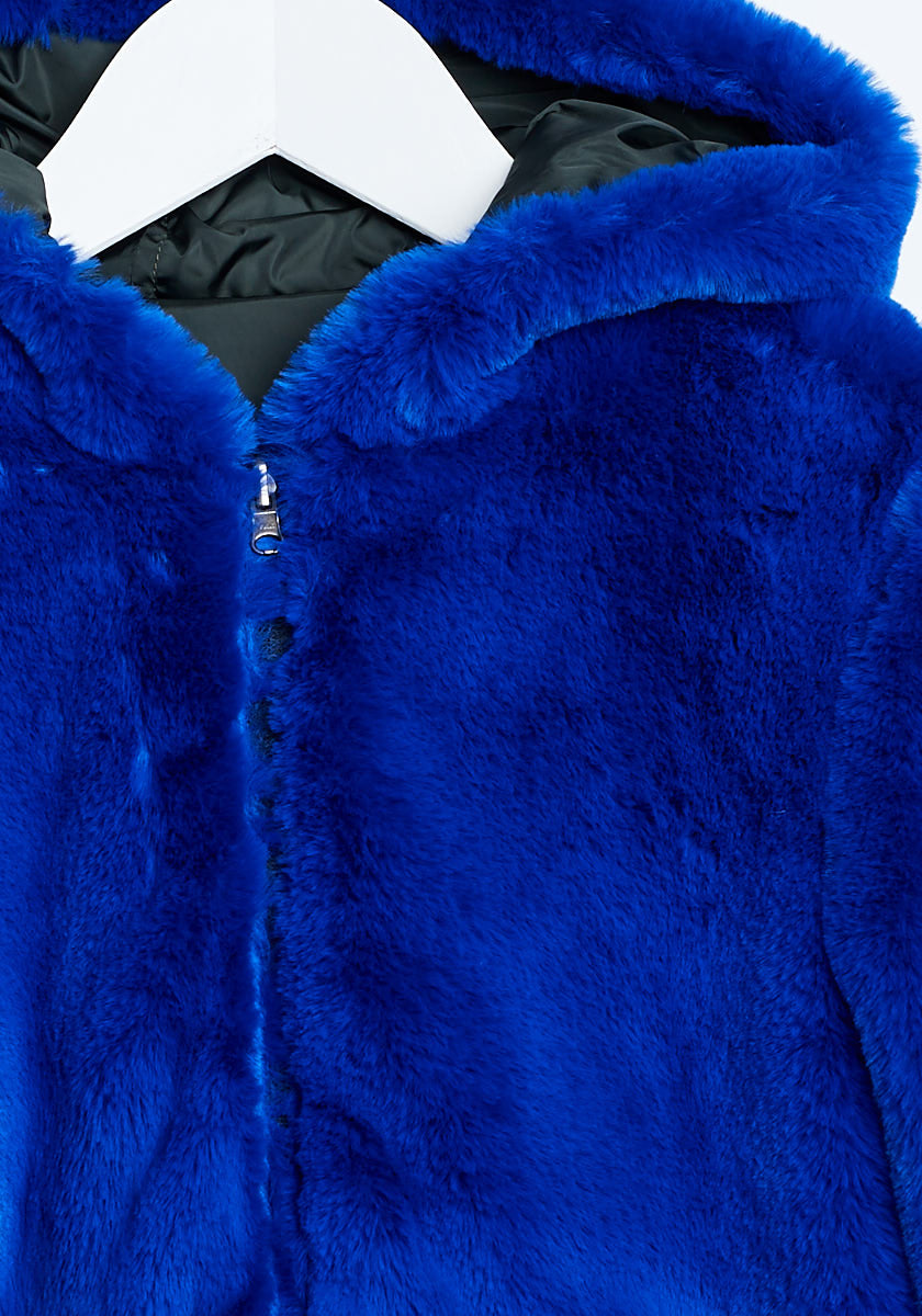 Bellerose Khaki Electric Blue Fur Coat - Ladida