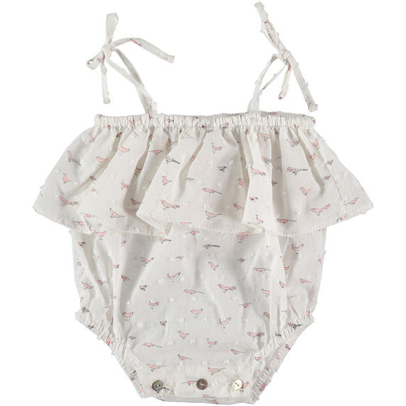 Niuborn Pink Birds Frilly Romper - Ladida