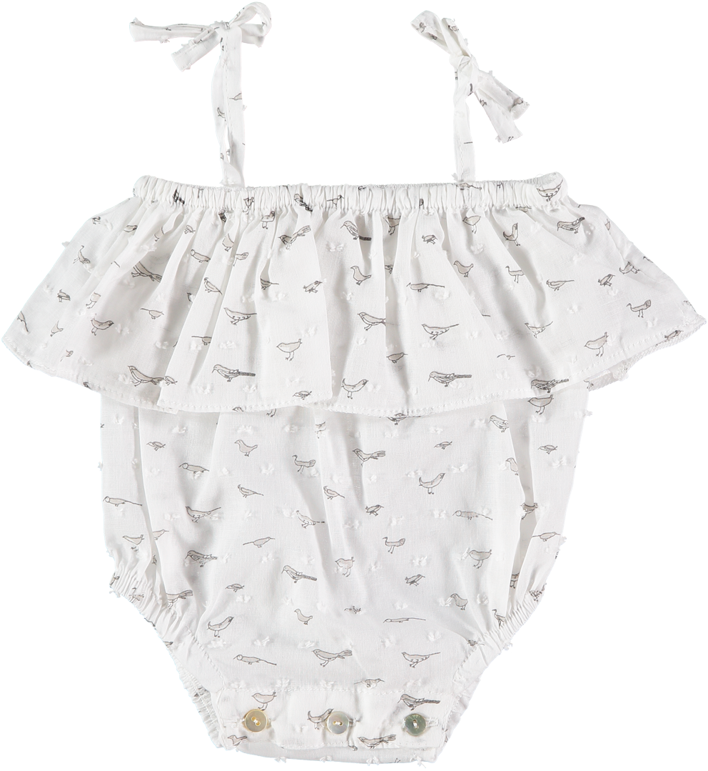 Niuborn Grey Birds Frilly Romper - Ladida