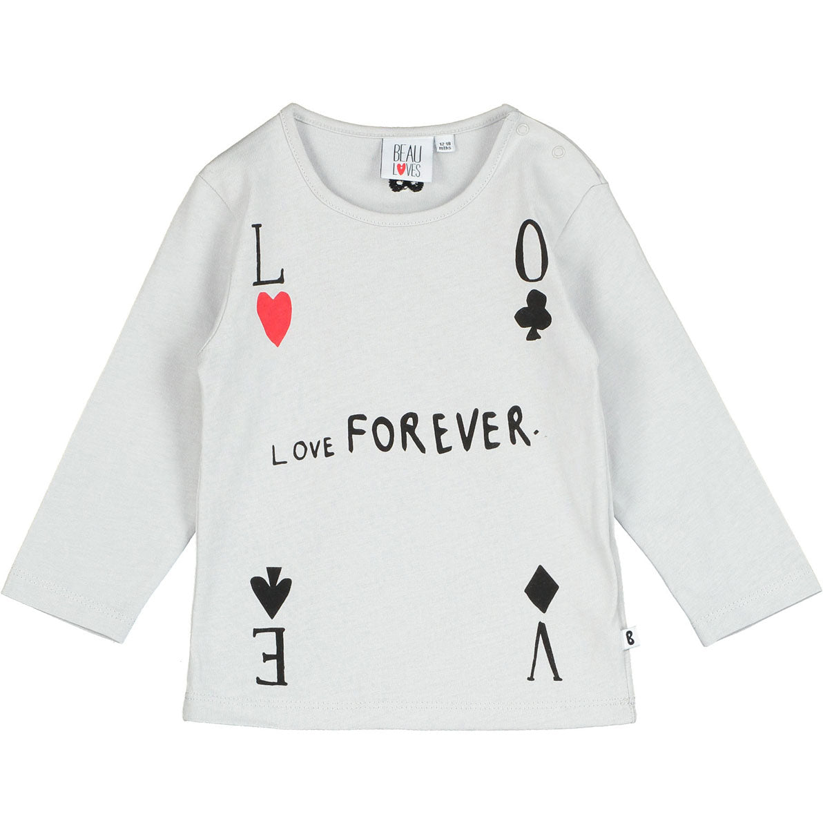 Beau Loves Quiet Grey Love Forever Baby Tee