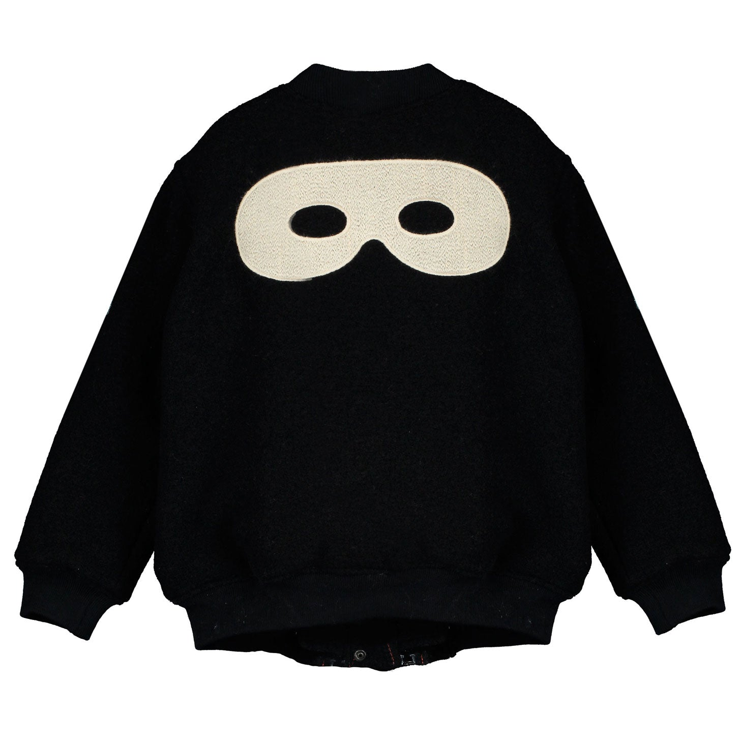 Beau Loves Black Hero Mask Bomber Wool Jacket