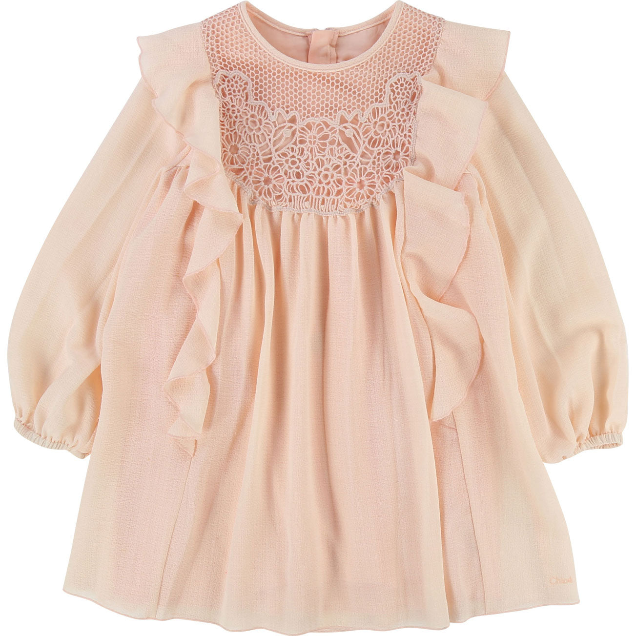 Chloe Blush Crepe Ruffle Pleat Dress