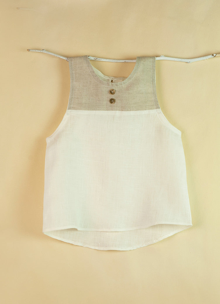 Popelin White Sleeveless Shirt - Ladida