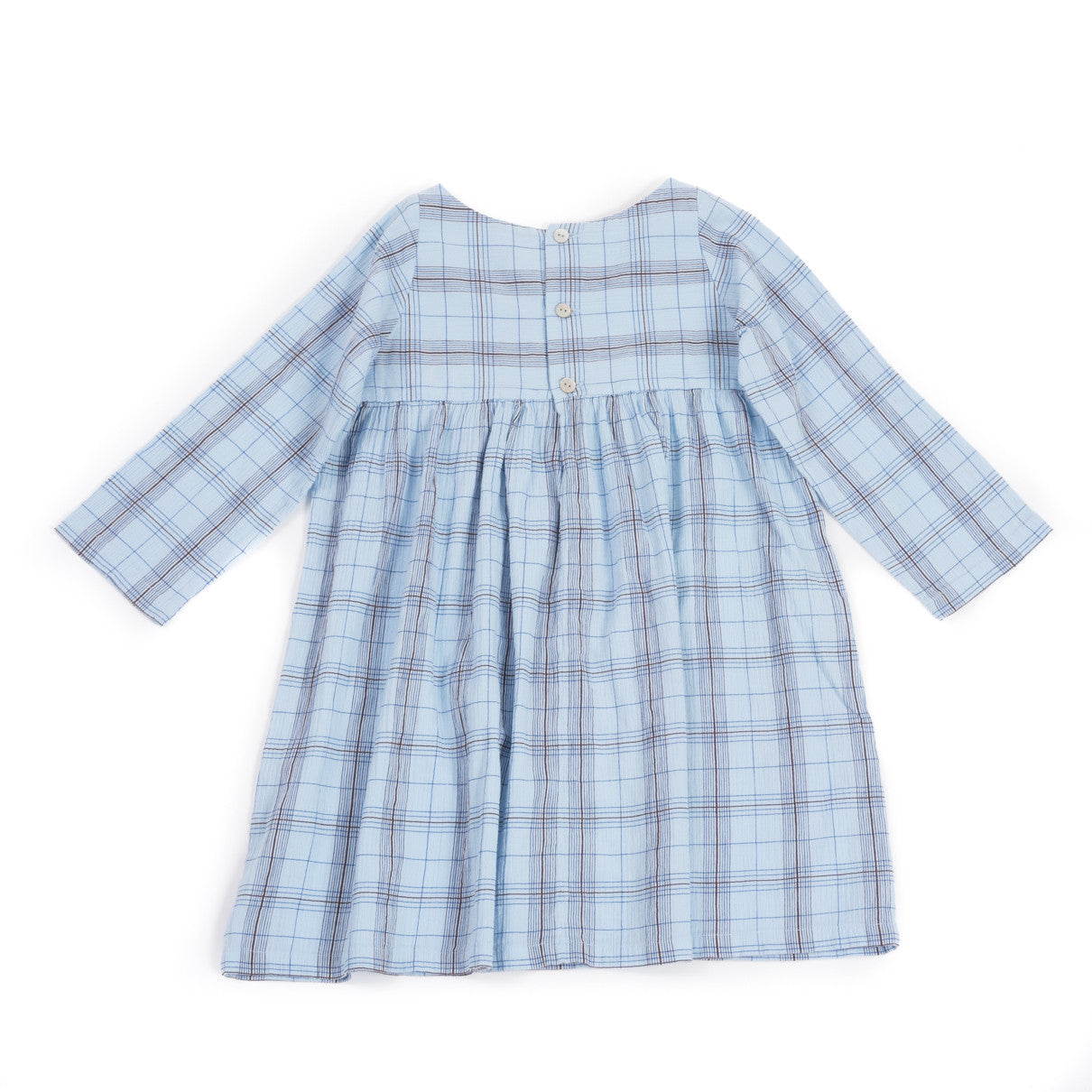 Bonton Blue Plaid Stitched Dress - Ladida