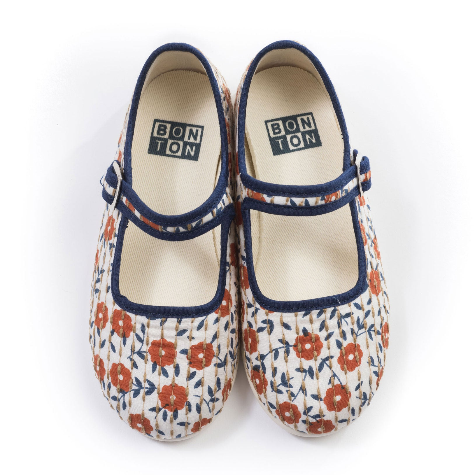 Bonton Orange Floral Stitched Mary Janes