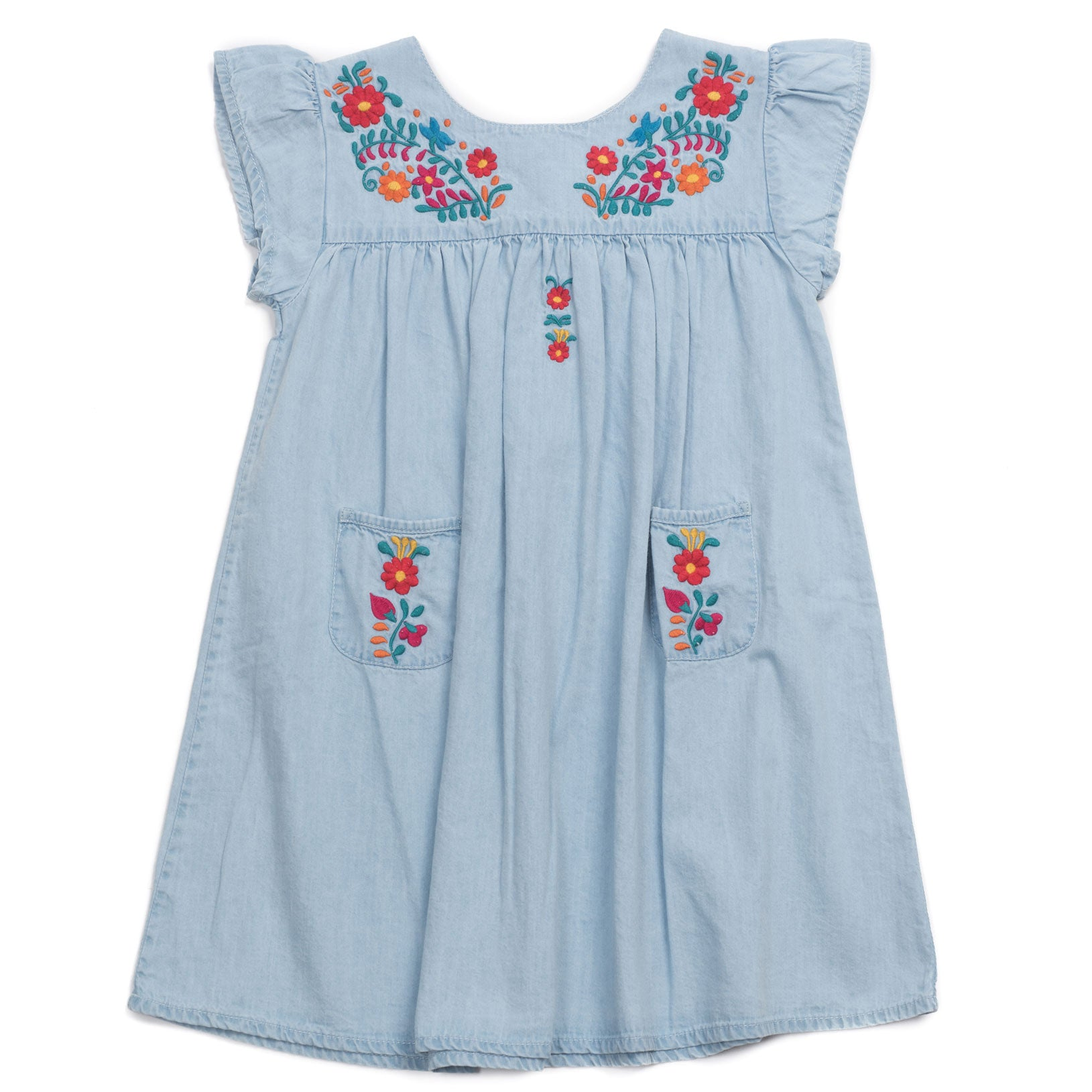 8c0d7607b Bonton Chambray Colorful Embroidered Dress | Ladida