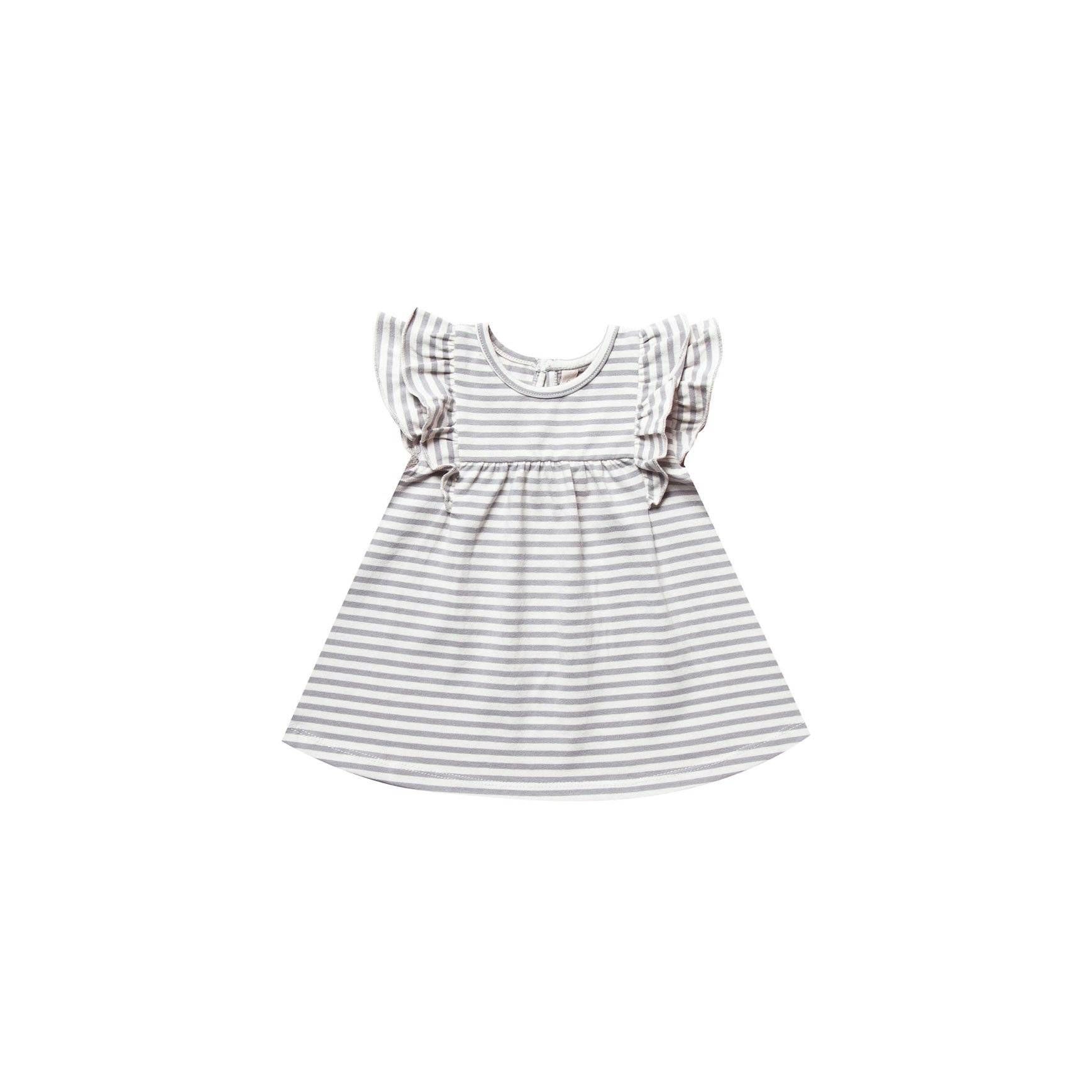Quincy Mae Grey Stripe Organic Brushed Jersey Flutter Dress