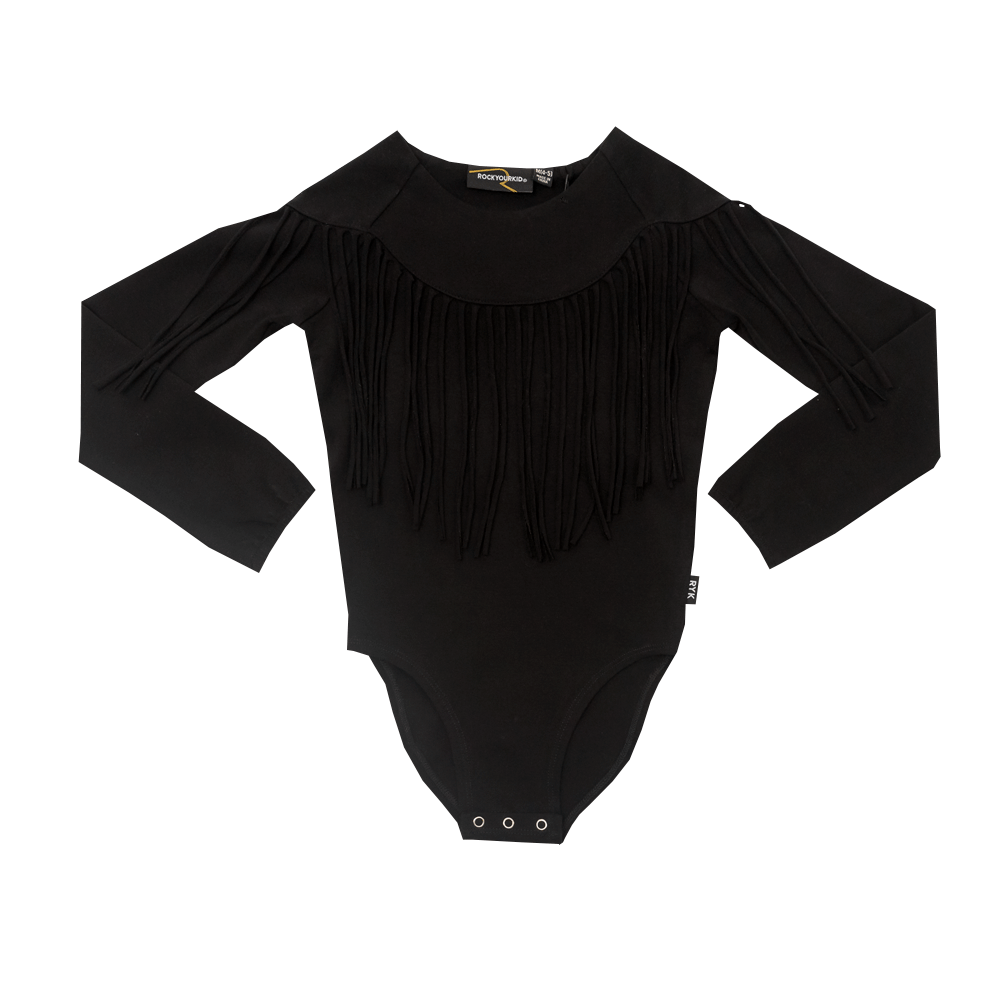 Rock Your Baby Black Fringe Leotard - Ladida