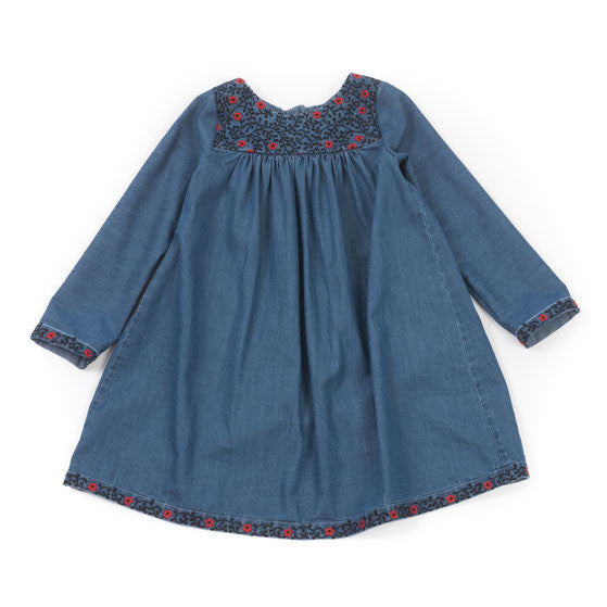Bonton Denim Embroidered Liberty Dress - Ladida