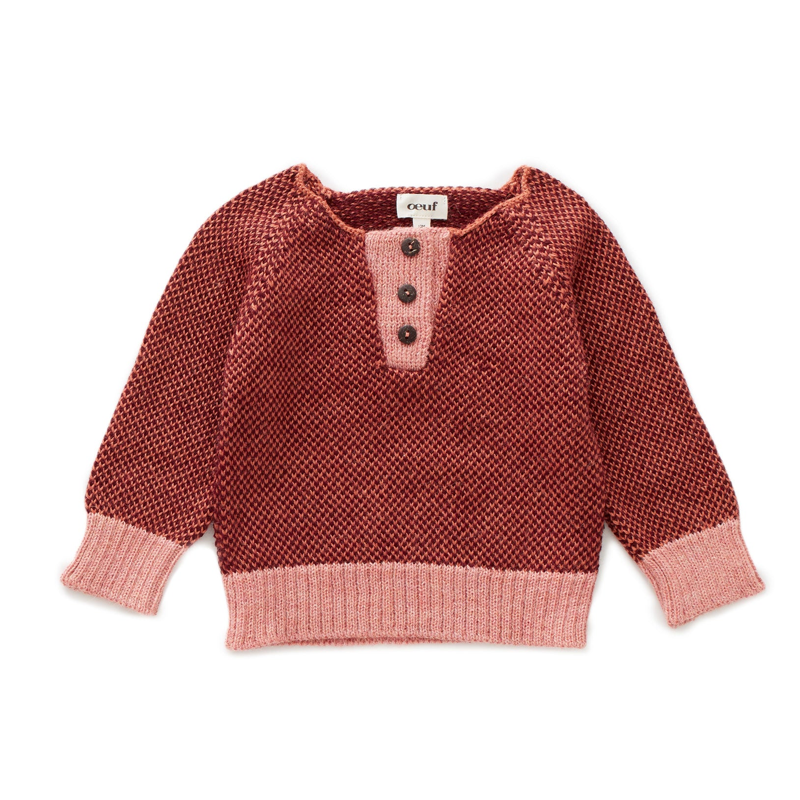 Oeuf Apricot/Burgundy Henley Sweater