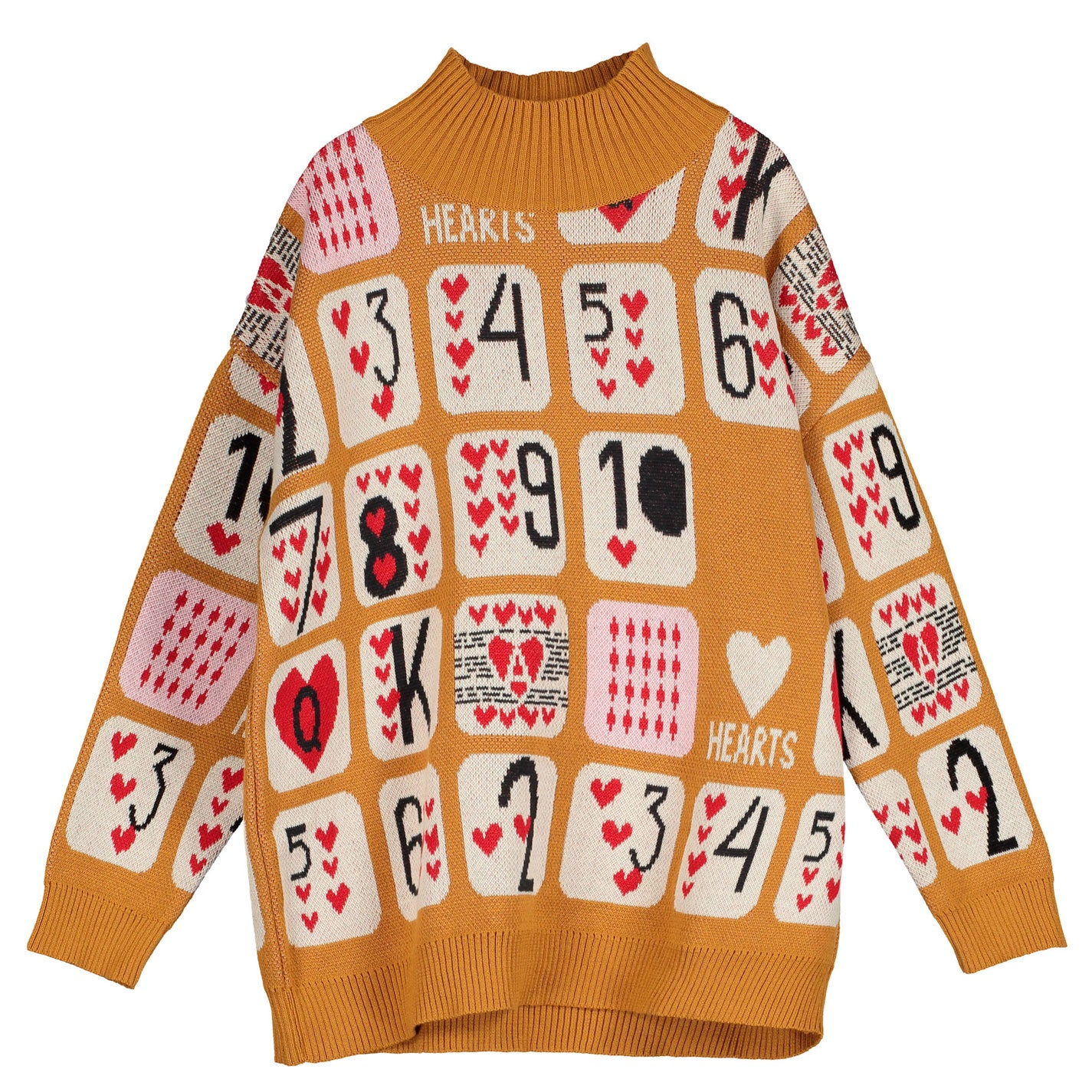 Beau Loves Camel Game of Hearts Knit High Collar Sweater