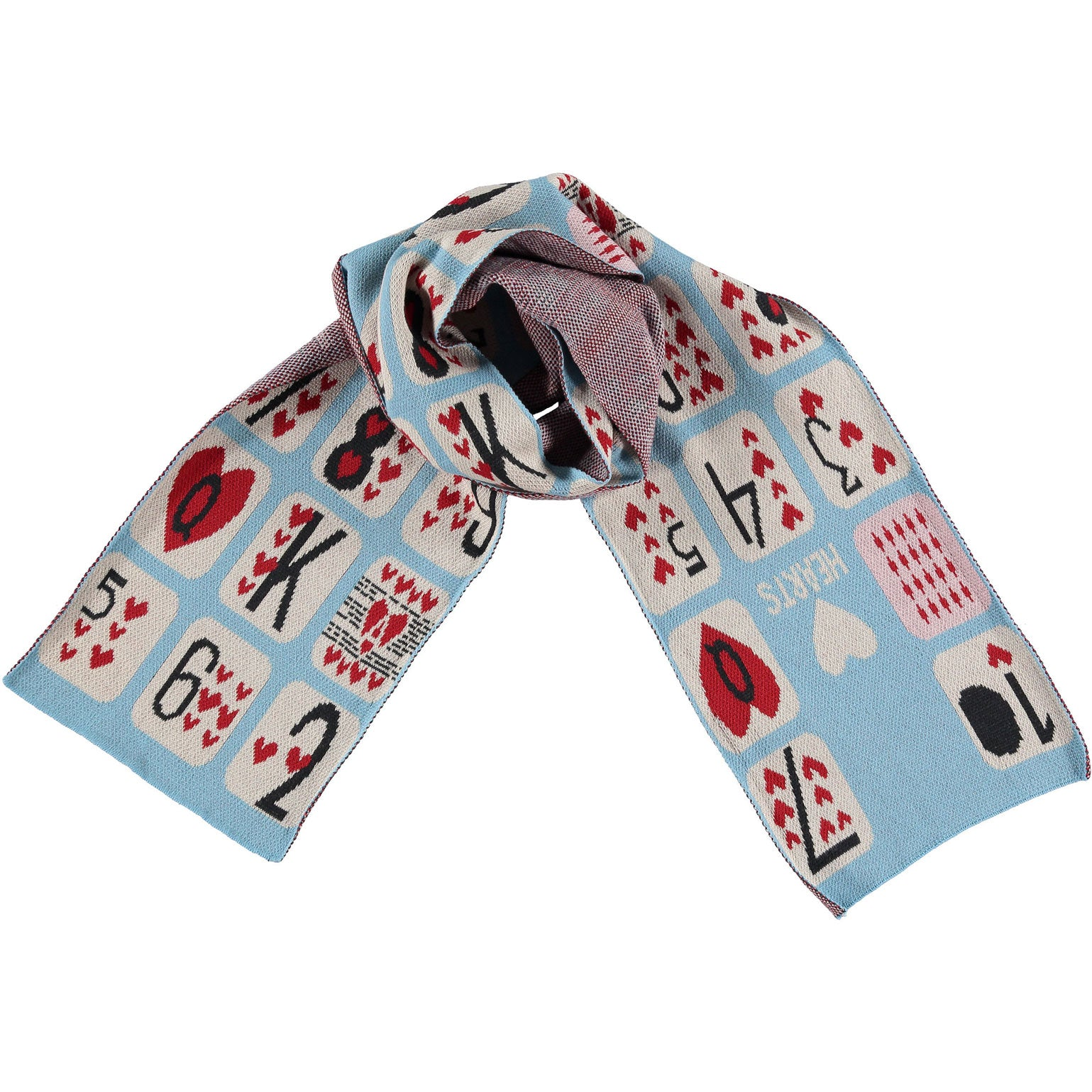 Beau Loves Sky Game of Hearts Knit Scarf