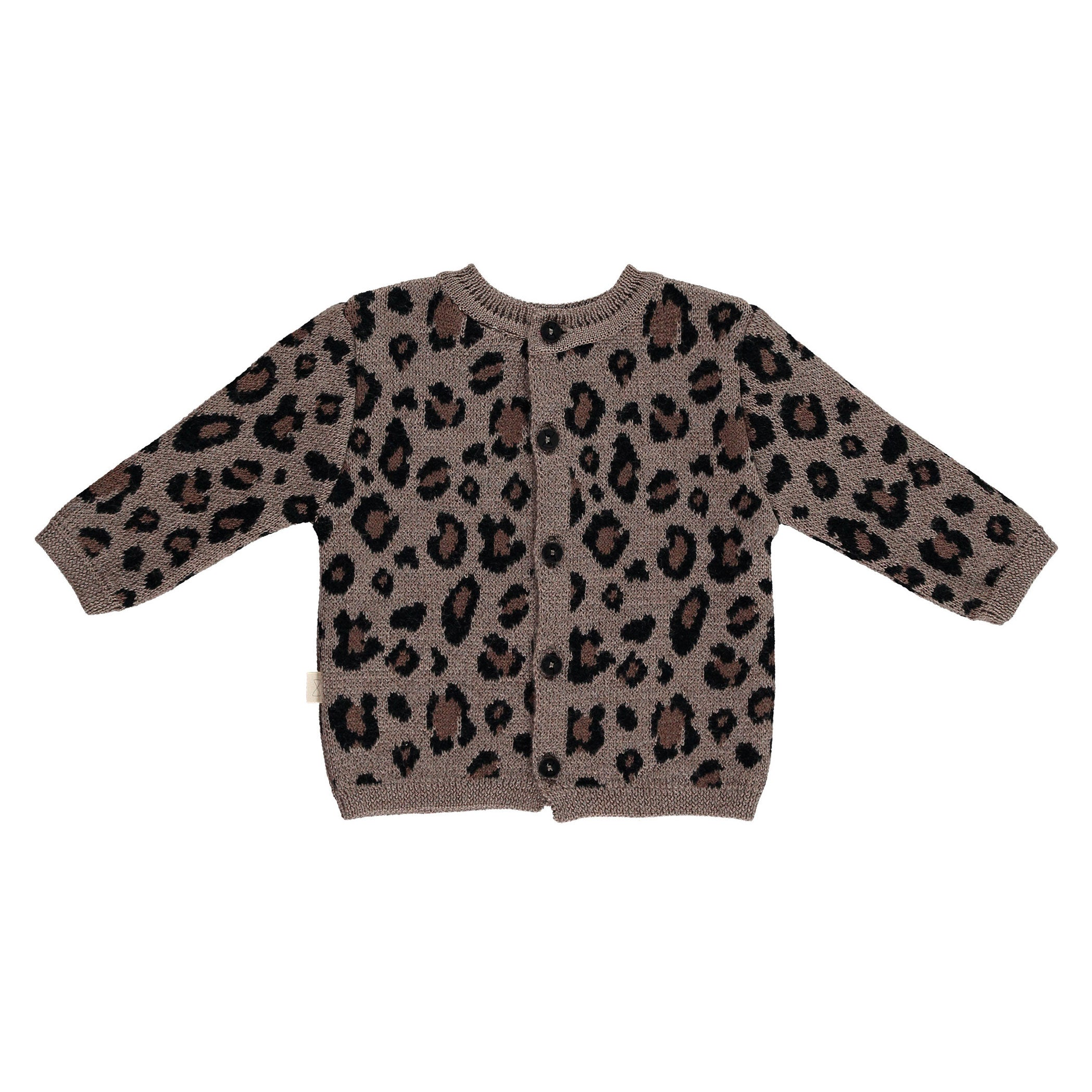 Mini Sibling Leopard Knit Sweater-Cardigan