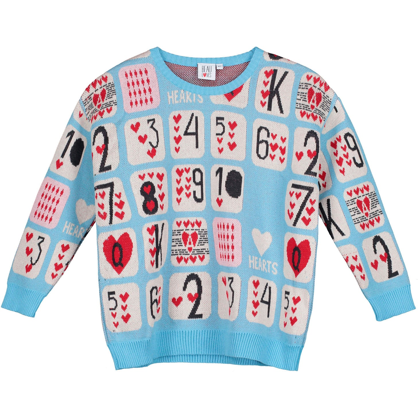 Beau Loves Sky Game of Hearts Knit Sweater