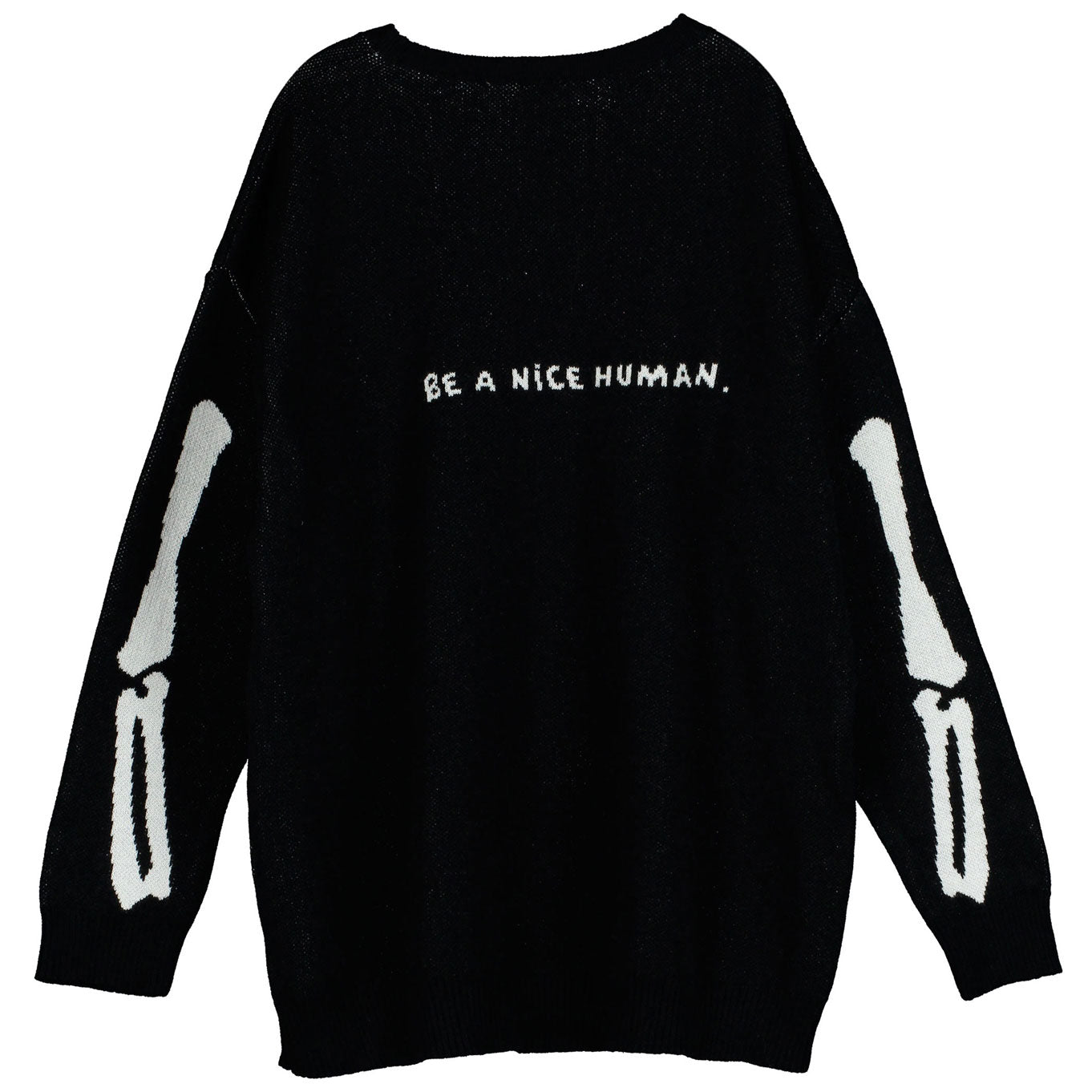 Beau Loves Black Skeleton Knit Tracke Suit Sweater