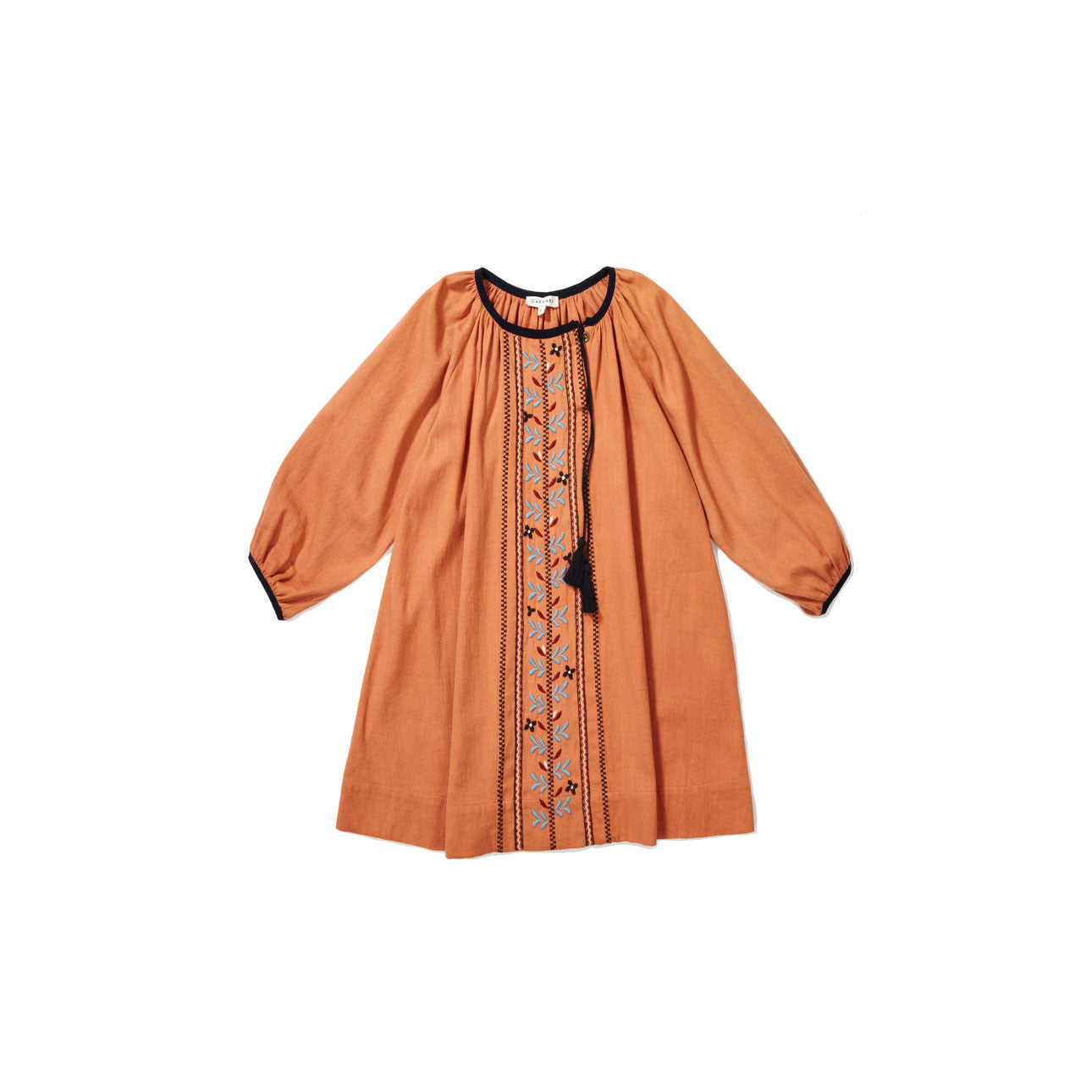 Caramel Persimmon Embroidered Dress - Ladida