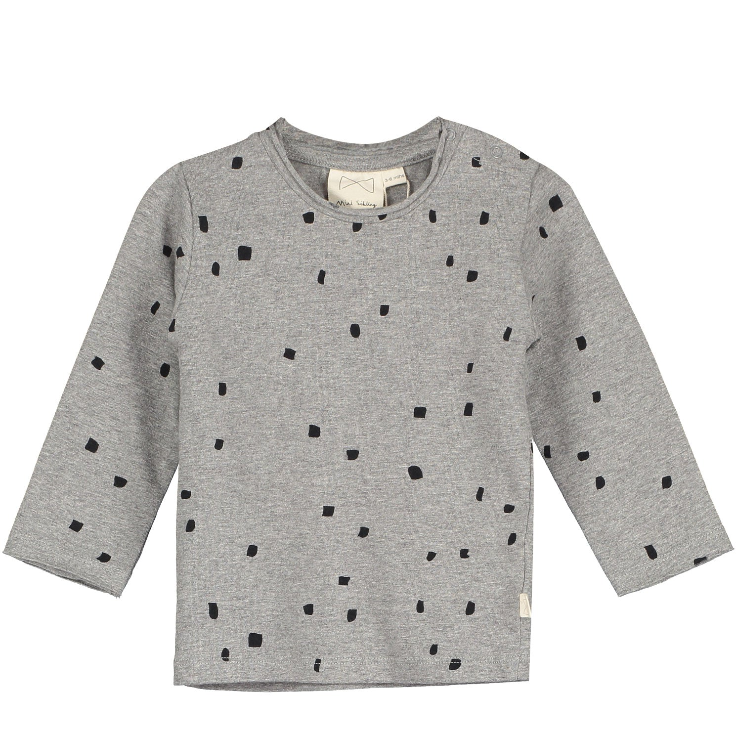Mini Sibling Grey Confetti Long Sleeved Top