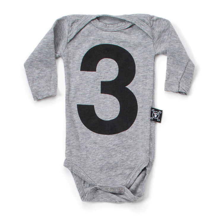 NUNUNU Heather Grey Numbered Bodysuit