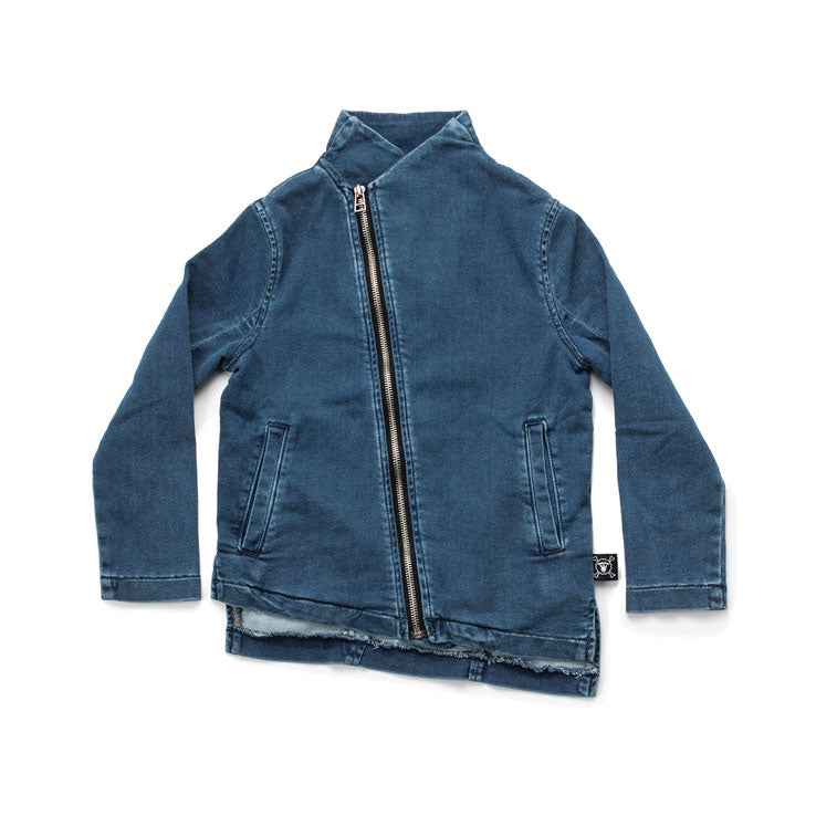 NUNUNU Denim Side Zip Sweatshirt