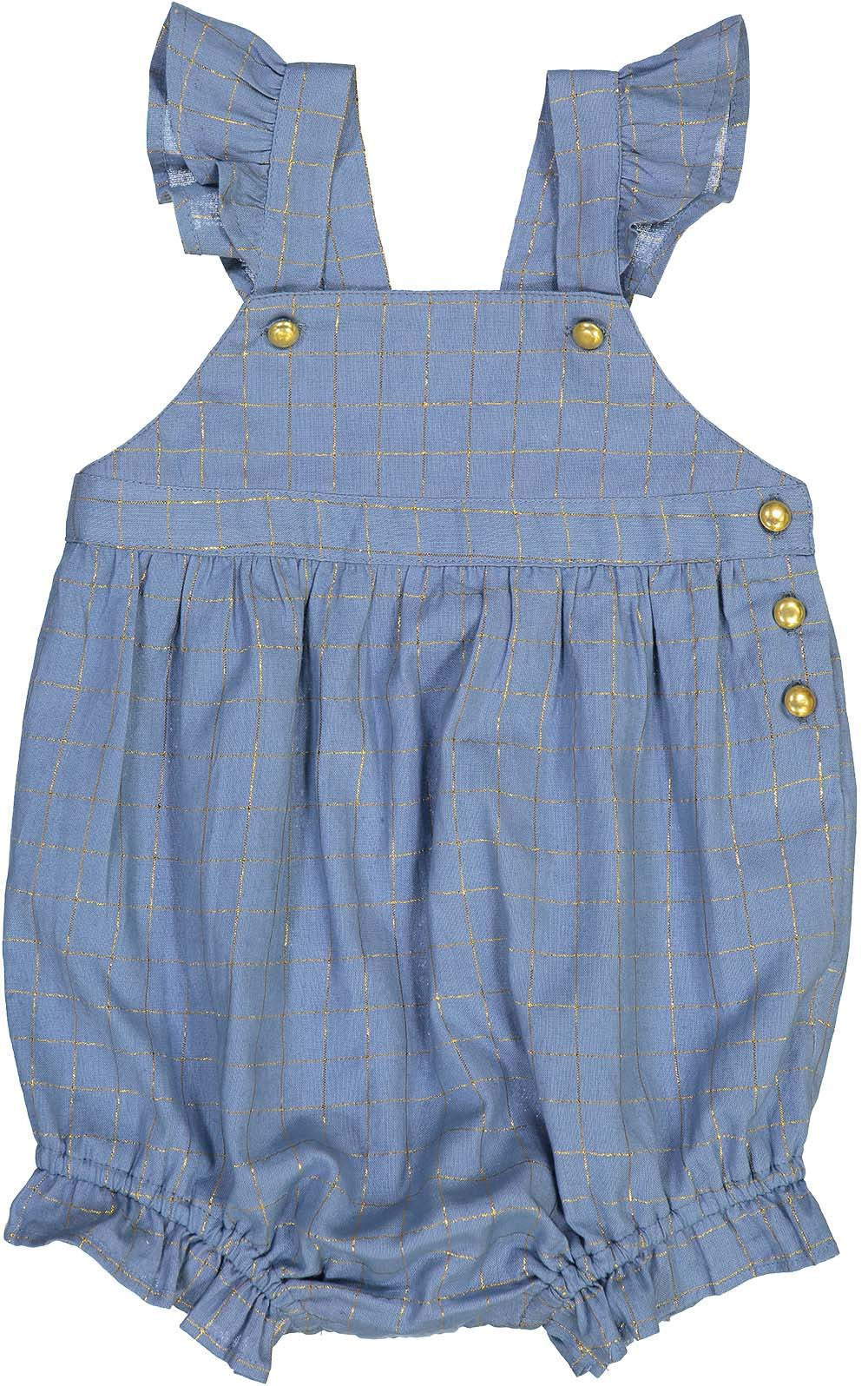 Louis Louise Light Blue Checks Lurex Olympe Overall