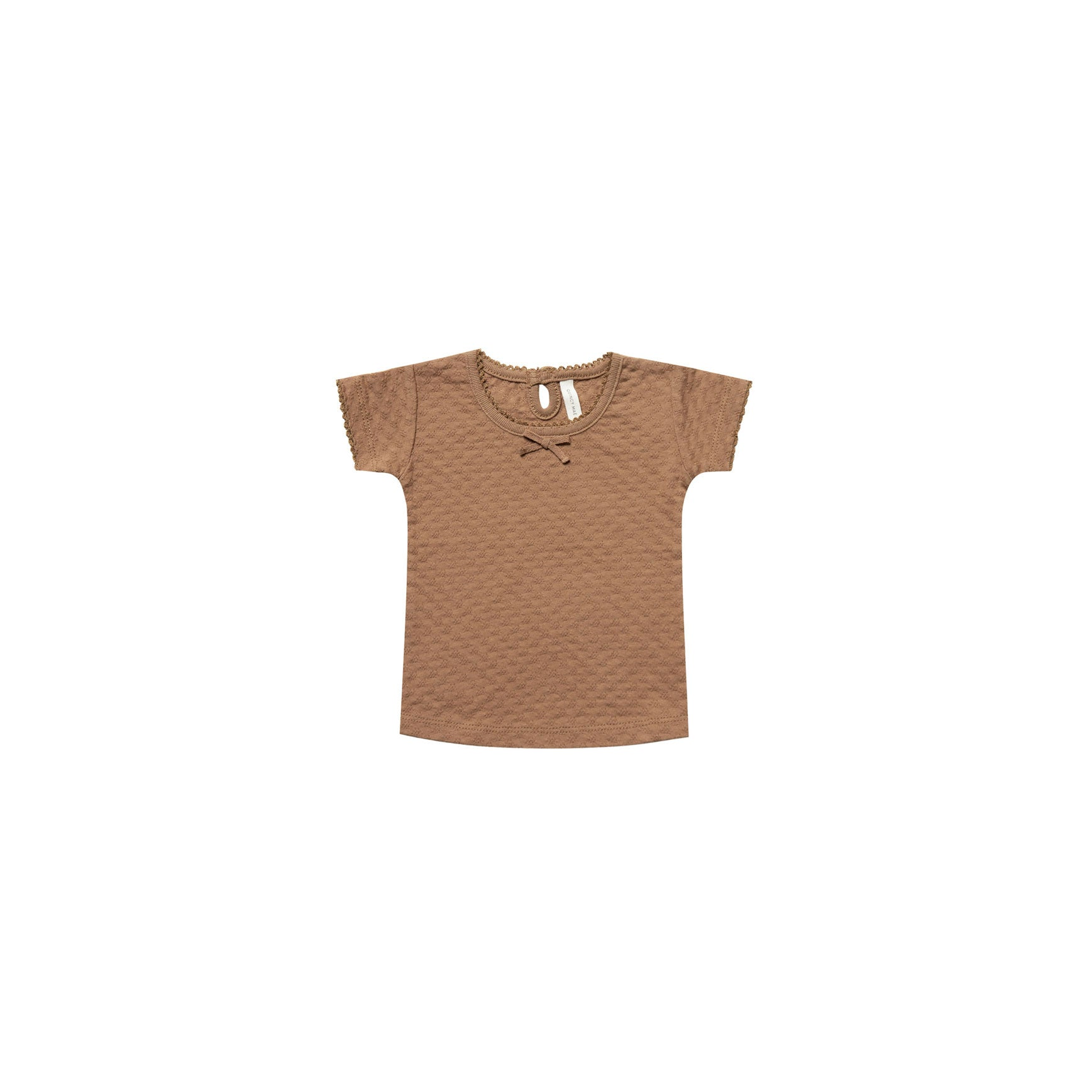 Quincy Mae Copper Organic Pointelle Tee