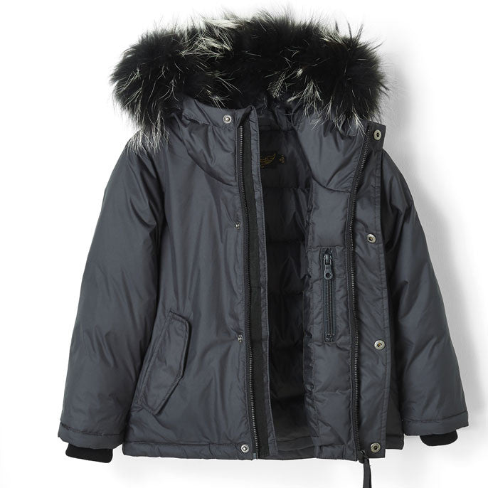 Finger in the Nose Ash Black Fur Hooded Snowtrip Jacket - Ladida