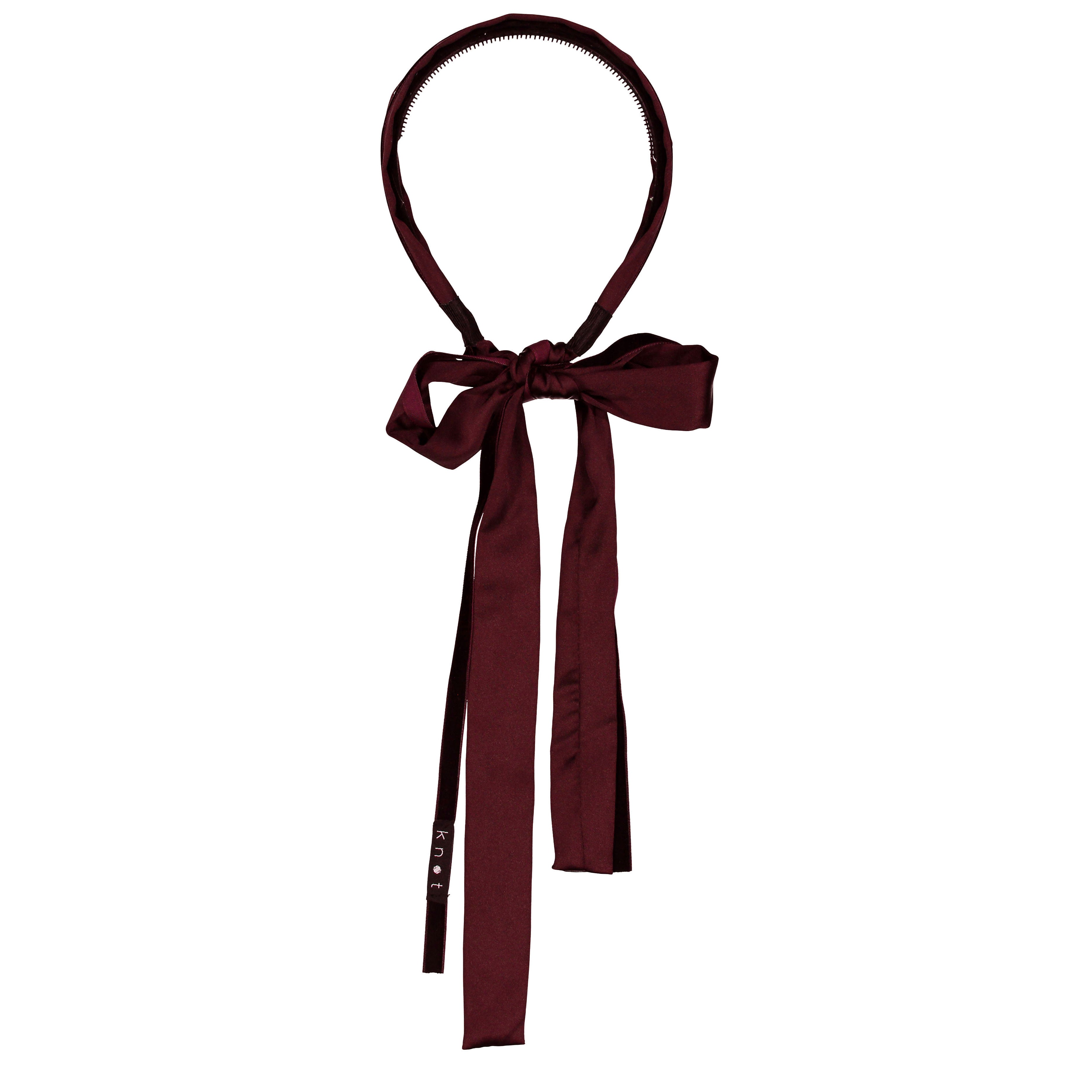 Knot Hairbands Burgundy Silk + Velvet Ribbon Bow Headband