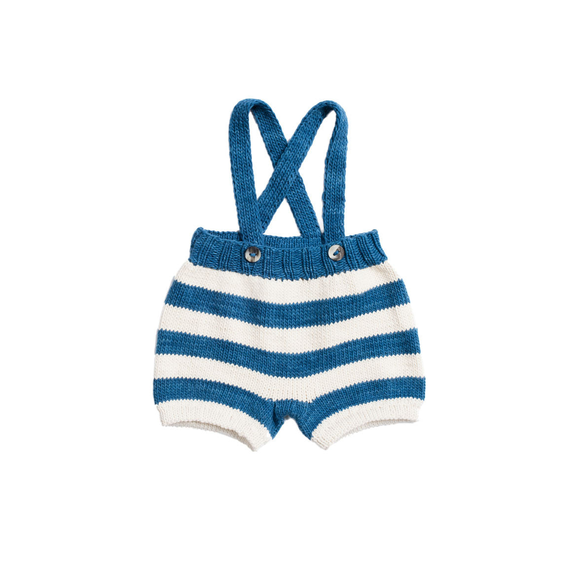 Misha & Puff Natural/Indigo Striped Suspender Shorts - Ladida