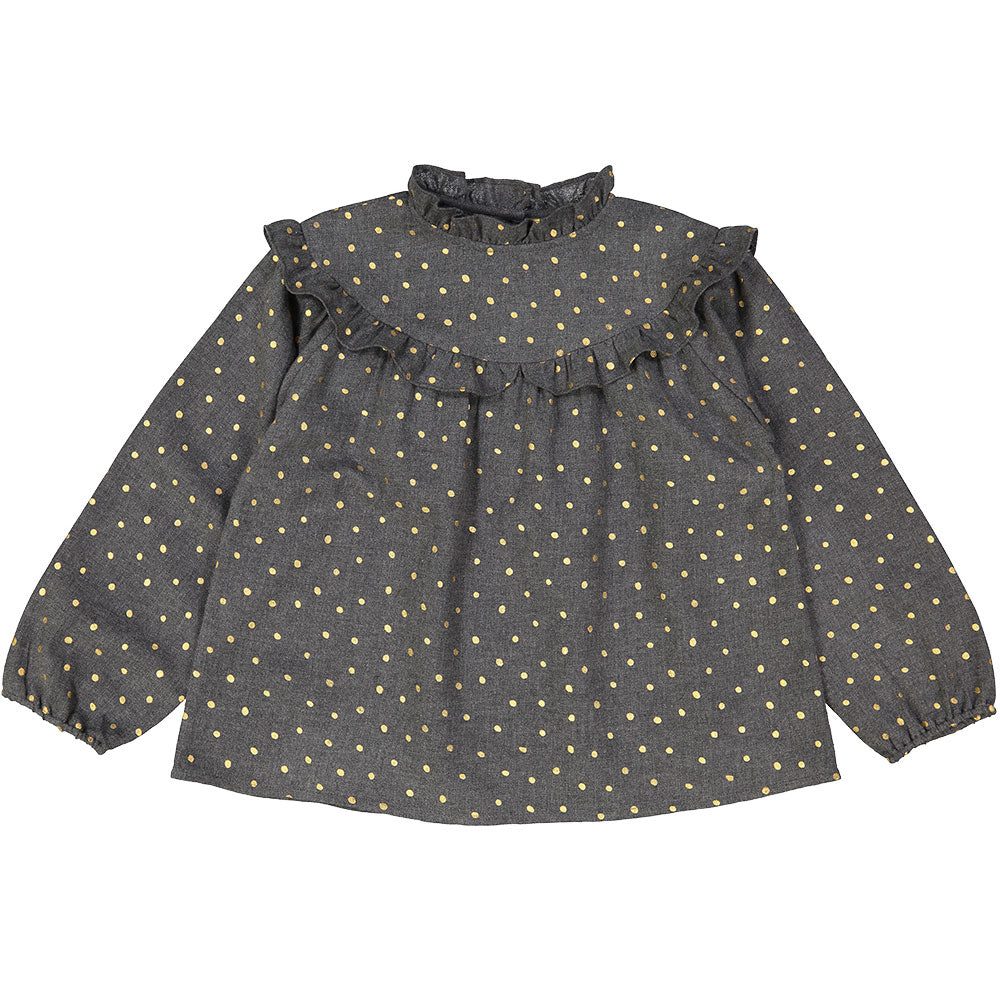 Louis Louise Grey Dot Dora Blouse - Ladida
