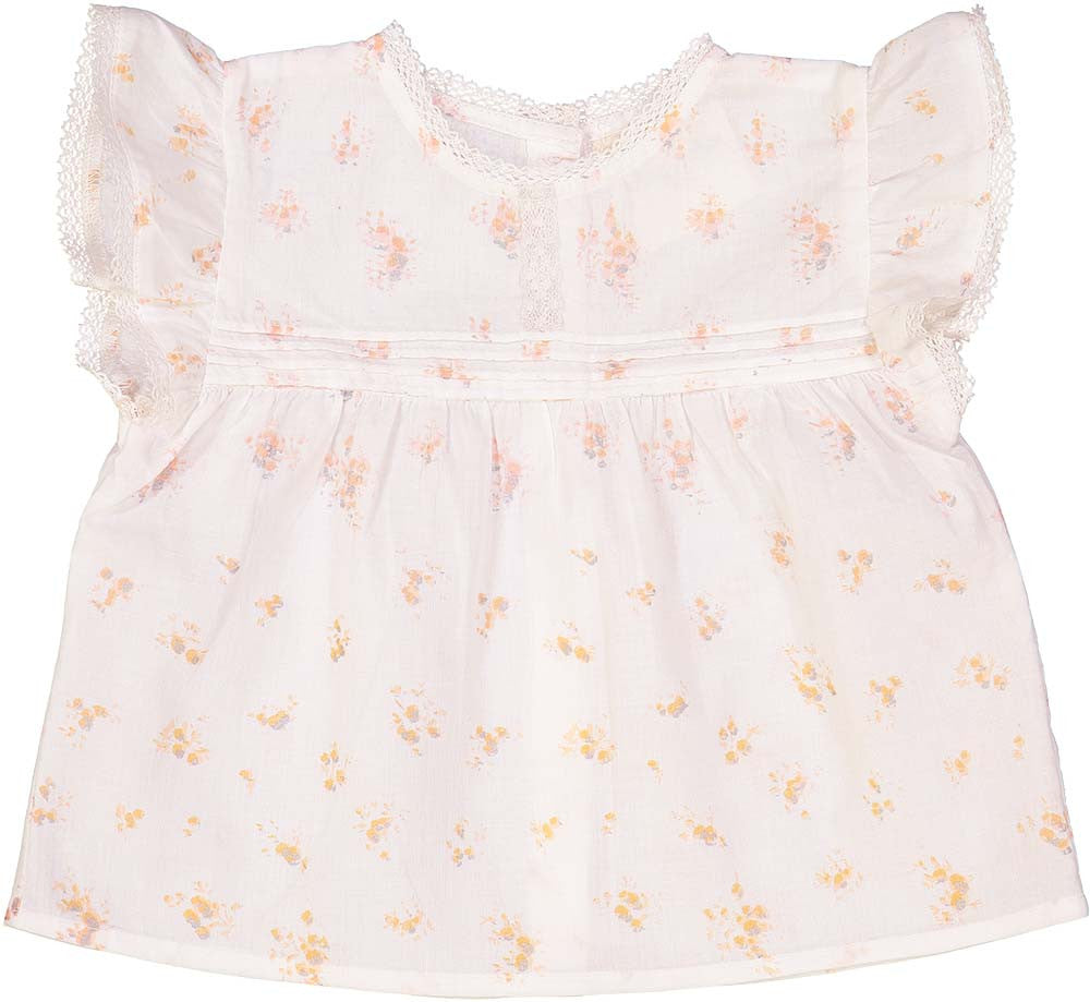 Louis Louise Pink Cotton Flowers Baby Blouse - Ladida