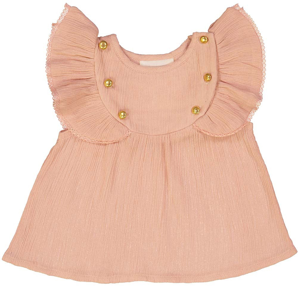 Louis Louise Pink Cotton Crepe Baby Blouse - Ladida