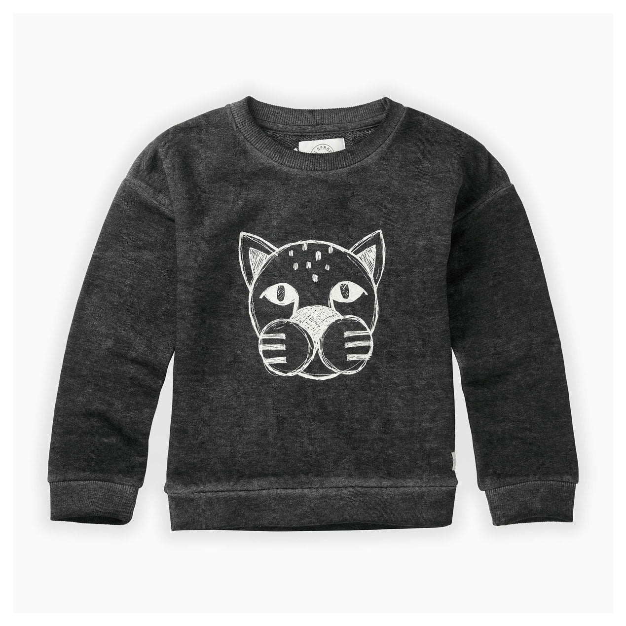 Sproet and Sprout Washed Black Panther Head Sweatshirt