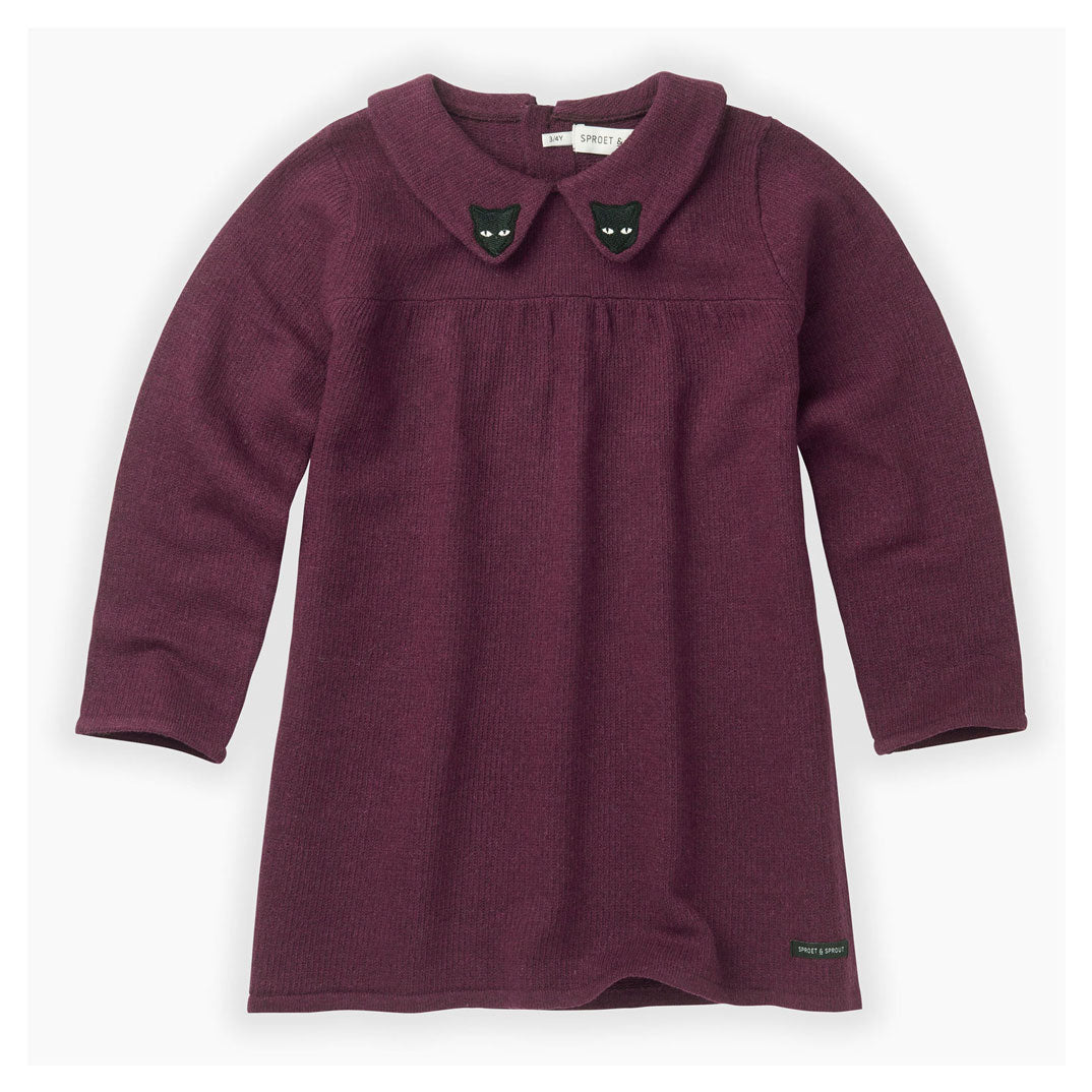 Sproet and Sprout Burgundy Knitted Cat Collar Dress