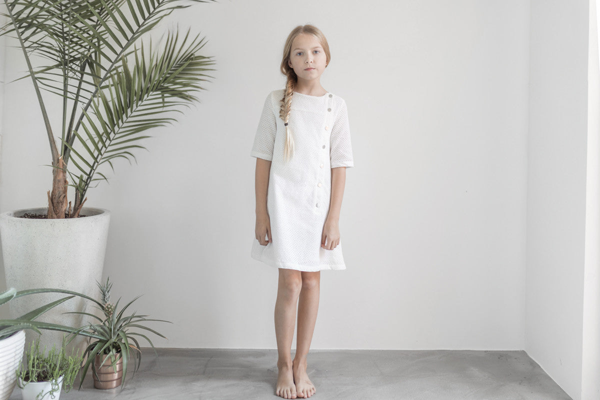 ROWE White Eyelet Button Dress - Ladida