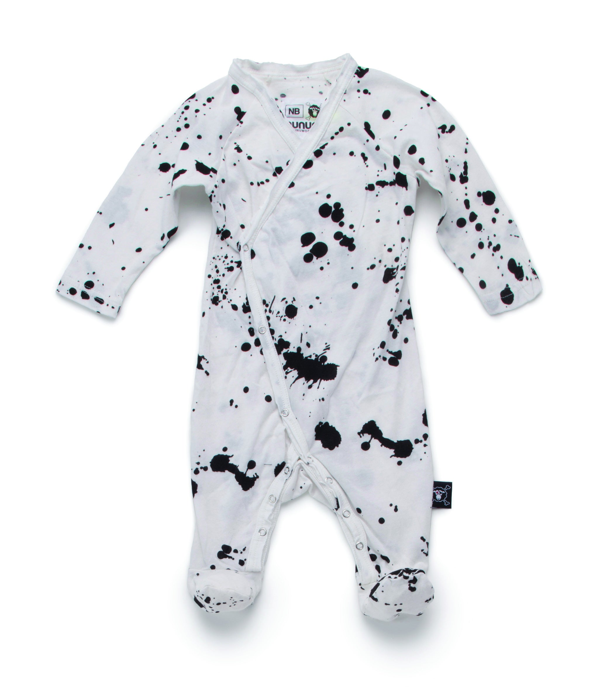 NUNUNU White Splatter Footie - Ladida