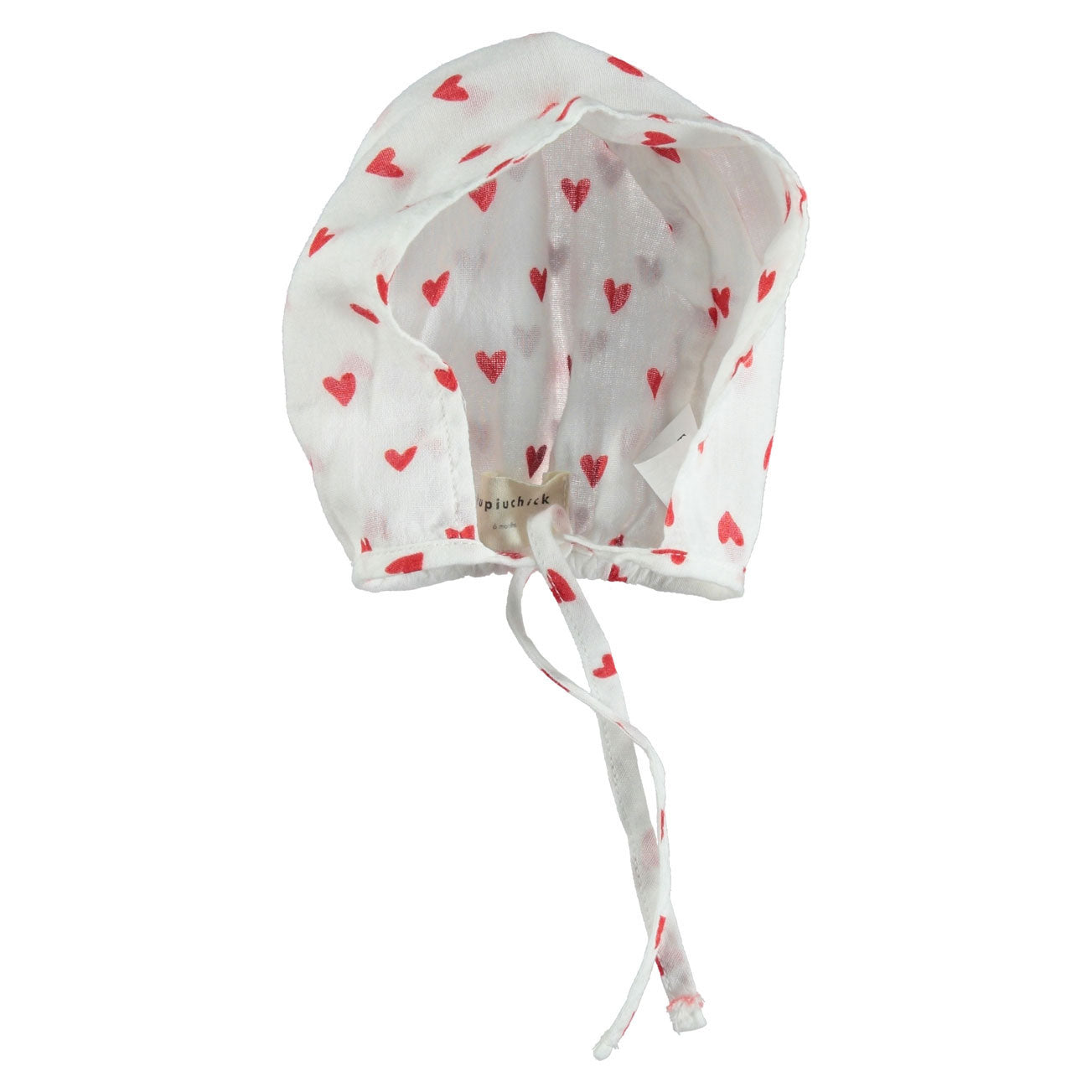 Piupiuchick Red Heart Print Bonnet