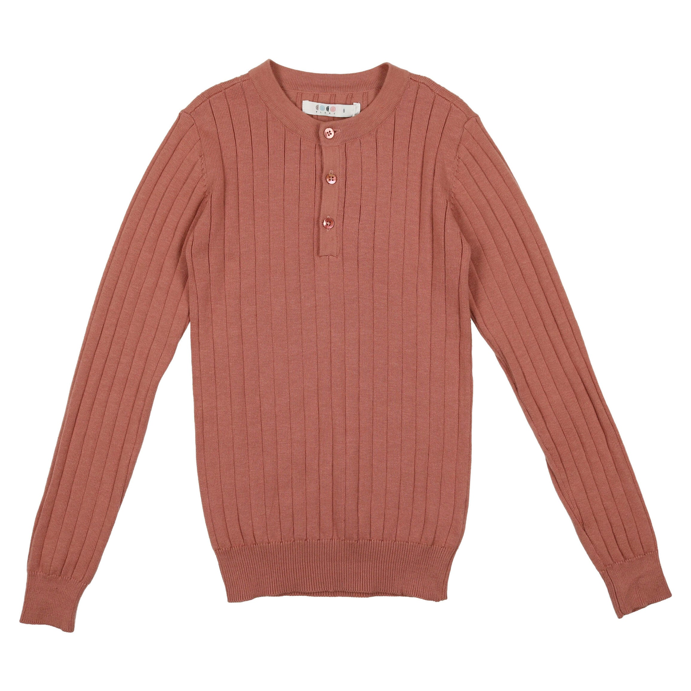 Coco Blanc Dusty Sand Button Ribbed Sweater