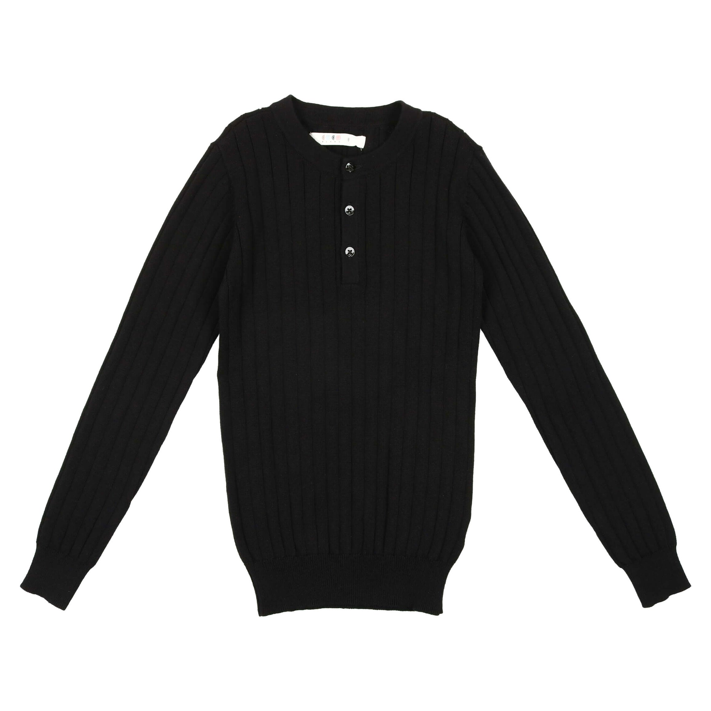 Coco Blanc Black Button Ribbed Sweater