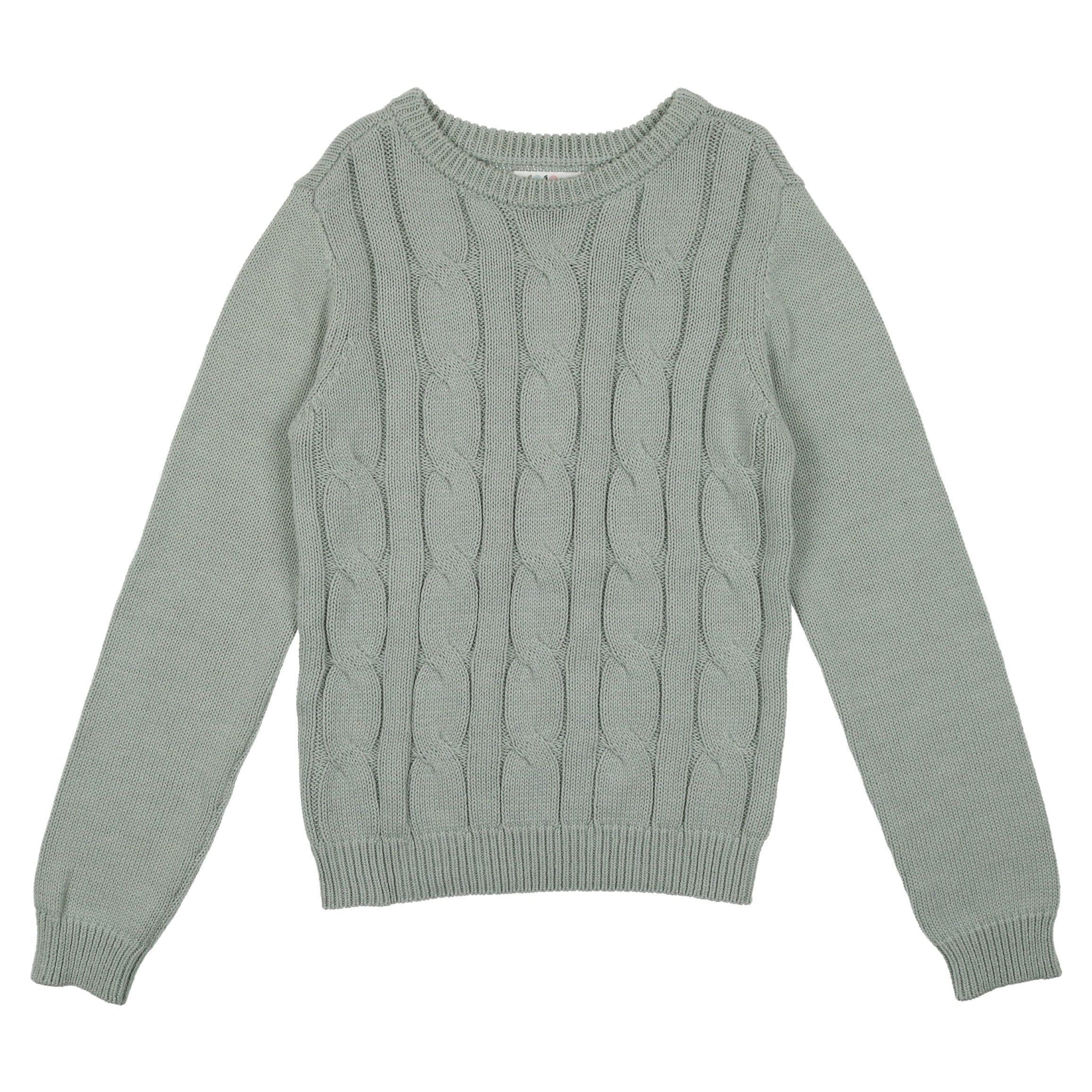 Coco Blanc Sage Blue Cabled Sweater