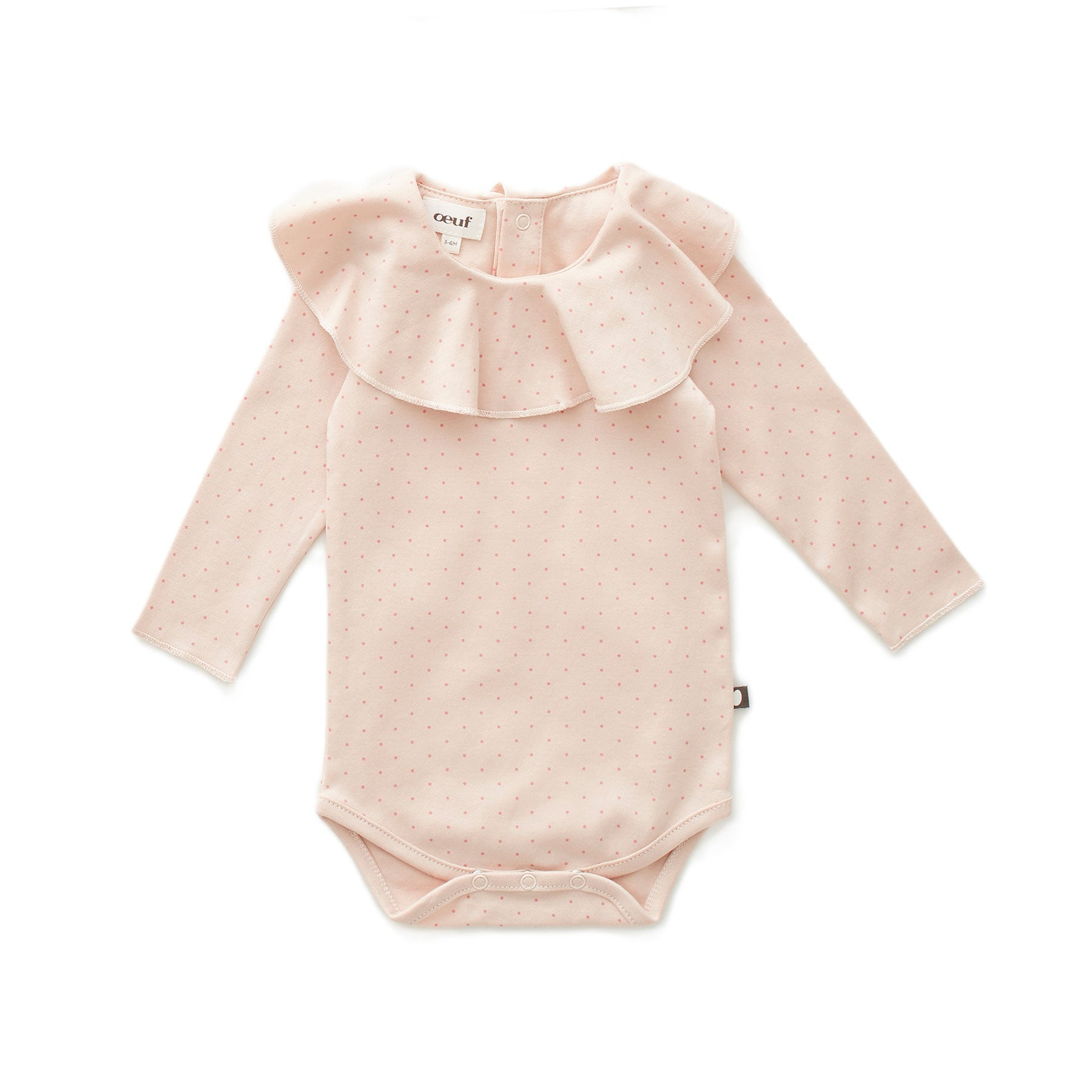 Oeuf Light Pink/Rose Dots Ruffle Collar Onesie