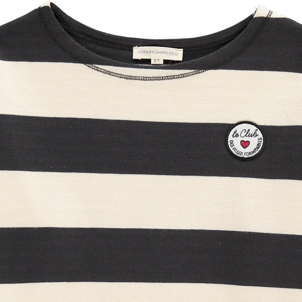 Hundred Pieces Navy Striped Tape Tee