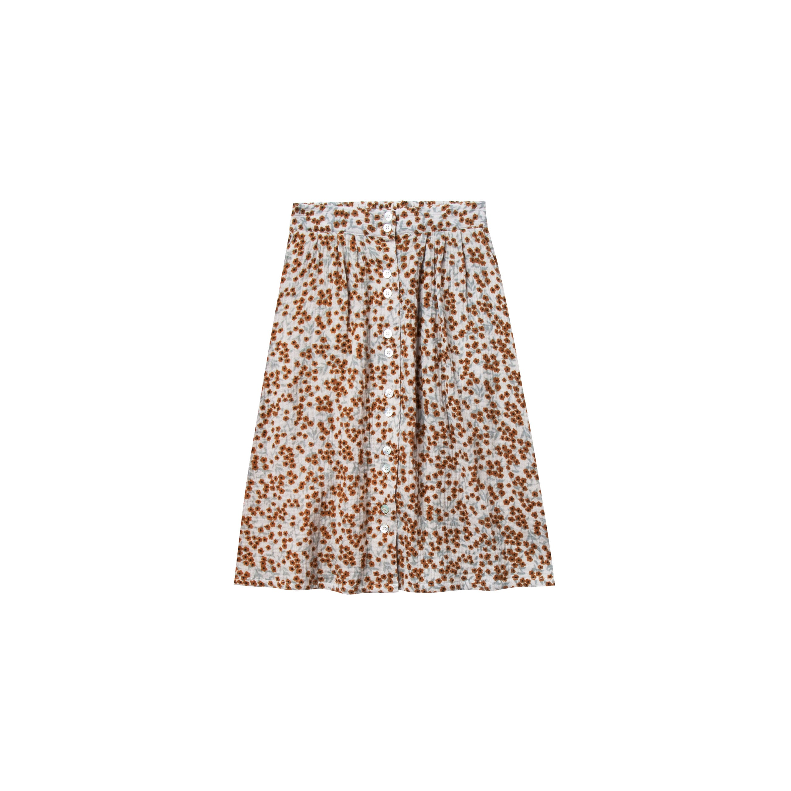 4cf6a3644bb Rylee and Cru Dove Flower Field Button Front Midi Skirt